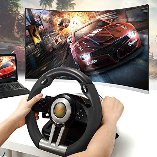 Game Racing Wheel, PXN-V3II 180° Competition Racing Steering Wheel with Universal USB Port and with Pedal, Suitable for PC, PS3, PS4, Xbox One, Nintendo Switch - Black
