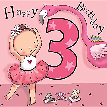 Twizler 3rd Birthday Card For Girl With Pink Ballerina Flamingo