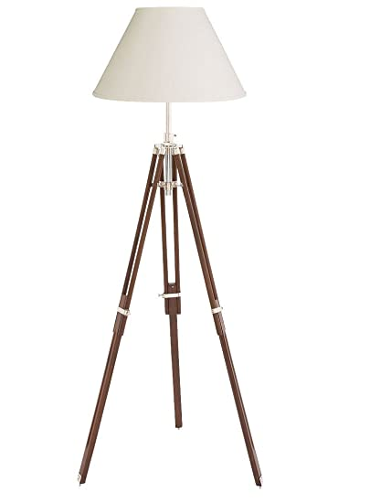Buy Nauticalmart Vintage Tripod Floor Lamp Nautical Adjustable Tripod Wooden Stand Online At Low Prices In India Amazon In