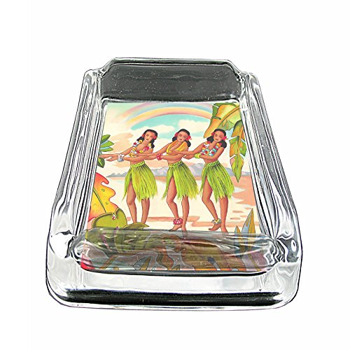 Glass Square Ashtray Vintage Hawaiian Art Design 003 ()