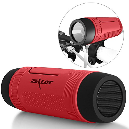ZEALOT S1 Portable Multifuctional Wireless Bluetooth Speaker - 4000mAh Rechargeable Power Bank w/ USB Output, 3 Mode Emergency Flashlight, Hands Free Answering Phone Call, TF Card Music Player, Mounting Mracket Screw Hole, Waterproof Level IP55, FM Radio