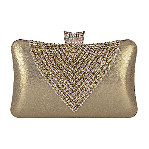 (2018 Spring Women's Handmade Handbag Silk Fabric Rhinestone Beaded Envelope Clutch Wedding Purse (Gold))
