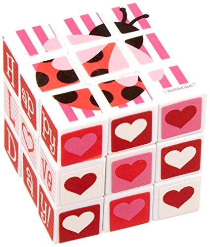 Amscan Valentine's Day Plastic Puzzle Cube Party Toy Favor Giveaway Set (1 Piece), 1 1/8