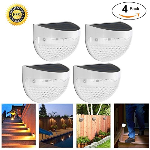 Waterproof Solar Fence Lights Outdoor- 6 LED Sensor Wall Lamp Soft Warm White Auto ON/OFF At Night for Deck Stairs Posts Garden Fence Yard Roof Anywhere (Warm White -4 Packs) (Dome Solar Lights)