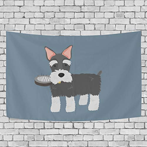 VIMMUCIR Cute Schnauzer Tapestry Wall Hanging for Bedroom Polyester Fabric Cottage School Dorm Wall Art Home Decor 90x60 Inch