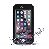 iPhone 6S Waterproof Case, OFTEN iPhone 6/6S 4.7 INCH Waterproof Case Clear Screen Protector Shock Absorbing Heavy Duty Hard Back Stand Cover (Black)