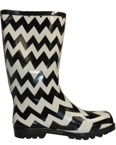 Puddles Black Boot rain Chevron Nomad US 6 M Women's B White 8xnq4Z