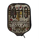YOLIYANA Modern Durable Racket Cover,Binary Grunge Background with Acid Etched Numbers Murky Chaotic Graphic Decorative for Sandbeach,One Size
