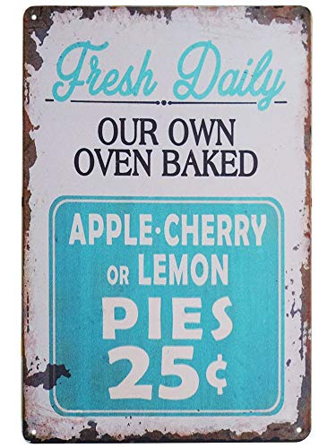 - TISOSO Tin Signs Fresh Daily Baked Pies Primitive Country Farm House Home Decor Eggs Designs Coffee Retro Vintage Metal Bar Bedroom Creative Wall 8X12Inch
