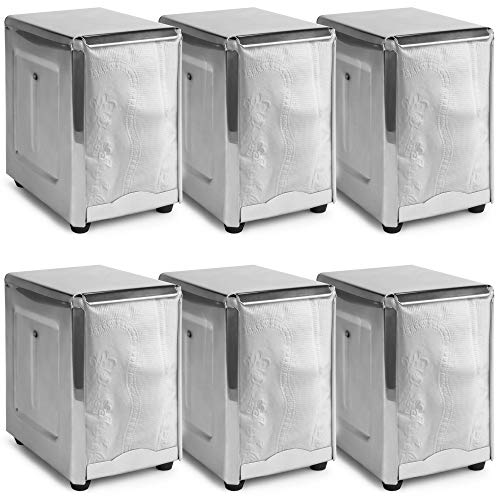 Commercial Napkin Dispensers 6-pack Restaurant & Diner Value Bundle | Spring-Loaded, Stainless Steel, for Low-Fold Paper Napkins | Commercial & Home Use by Back of House Ltd. ()