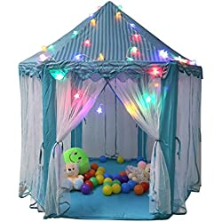 "TIENO 55"" x 53"" Children Indoor Play Tent Princess Castle Playhouse for kids with Star Light"