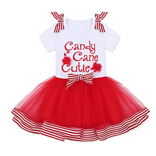 iiniim Toddler Girls Cute Bow Candy Cane Christmas Tutu Dress Party Outfit Costumes White & Red 3T