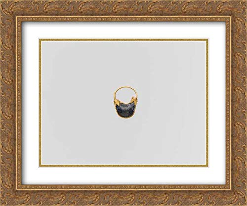 (Cypriot Culture - 24x20 Gold Ornate Frame and Double Matted Museum Art Print - Gold and Lapis-Lazuli Boat-Shaped Earring)