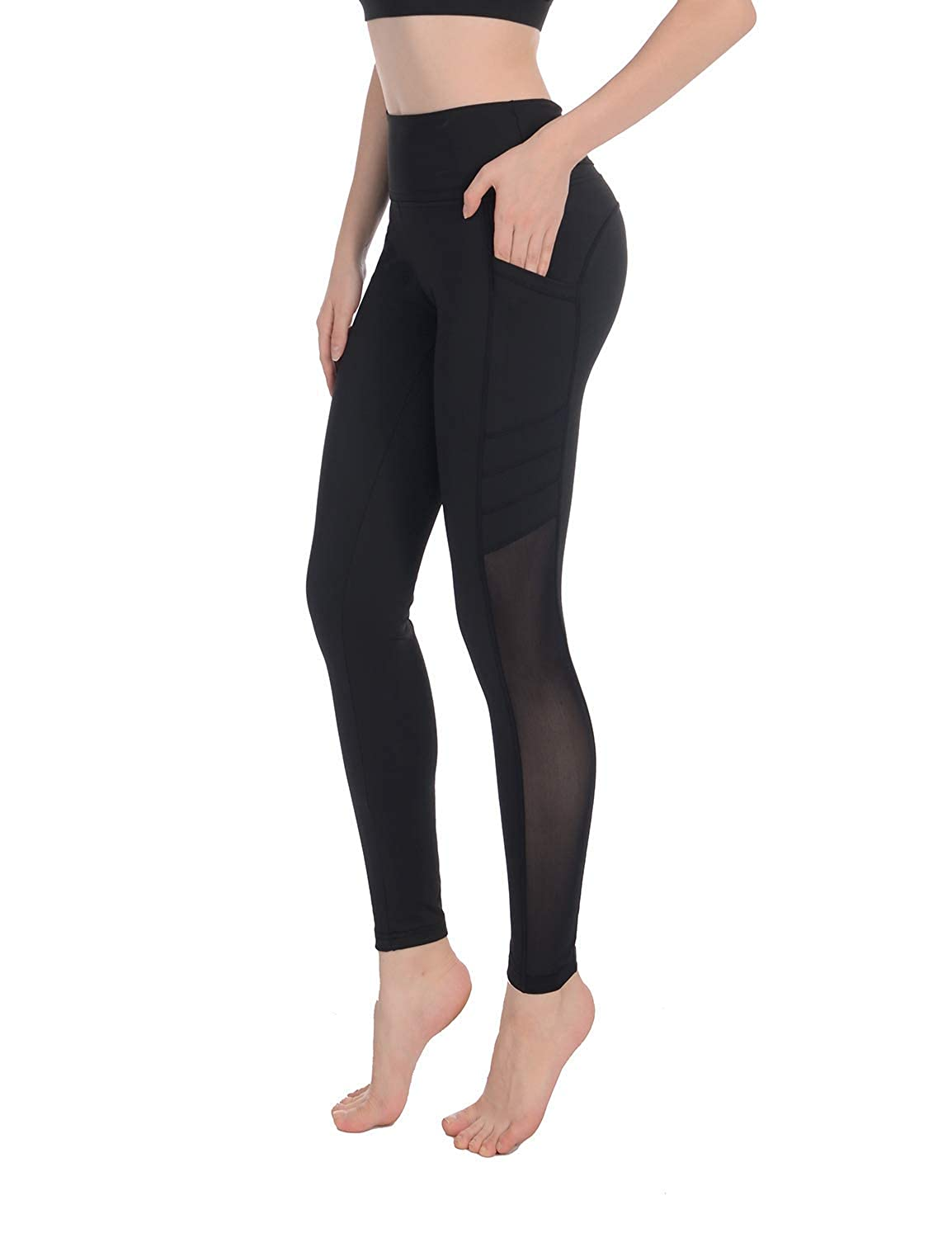 f310077fb6753 Amazon.com: Sylonway Women's High Waist Yoga Pants with Pockets & Mesh  Tummy Control Workout Running Leggings for Sports Fitness Gym: Clothing