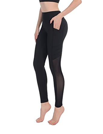 360f3c0ed61e6 Sylonway Women's High Waist Yoga Pants Tummy Control Workout Running Yoga  Leggings with Pockets Black +