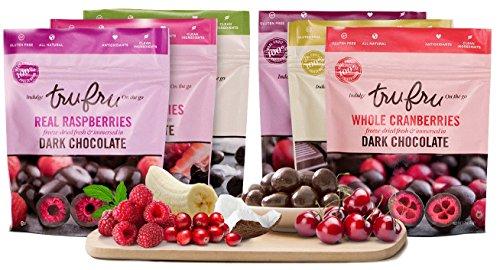Tru Fru BEST SELLER/SAMPLER Grab & Share Pack | 100% Freeze-Dried Fresh Fruit Covered in Dark Chocolate. 6ct-Pack Case, 4oz, 24 Servings (1-CHER,1-COCO,1-RASP,1-BANA,1-STRA,1-CRAN) by Tru Fru