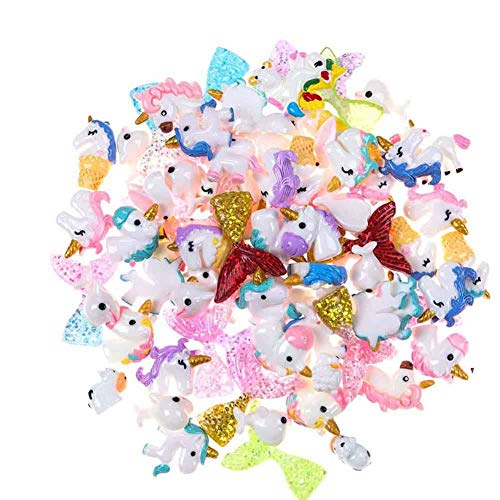 80 Pieces Slime Charms Cute Unicorn Mermaid Tail Dolphin Resin Mini Flatback Slime Kits Accessory Slime Beads Making Supplies for Ornament Scrapbooking DIY Crafts