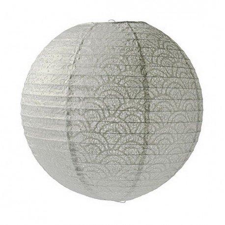 Artif Lanterne Japonaise, Lampion Boule Gris perlé Papier perforé Dentelle, DE 35 cm