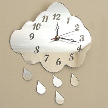 Cloud & 5 Raindrops Clock Mirror 35cm x 28cm