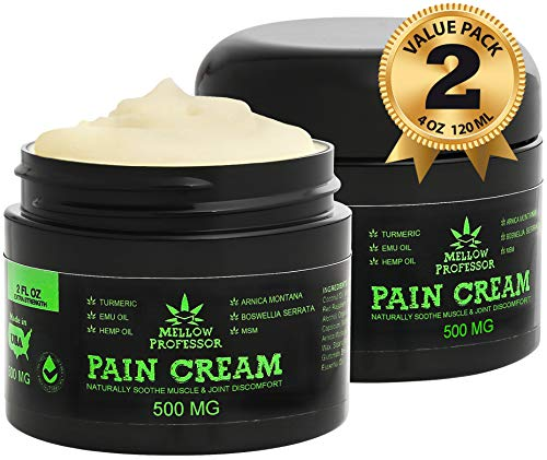 (2-Pack | 4oz) Organic Hemp Cream for Pain Relief | Emu Oil Turmeric MSM Arnica Montana Hemp Extract Natural Salve | Relieves Inflammation Joint Back Neck Knee Arthritis | 500mg Lotion