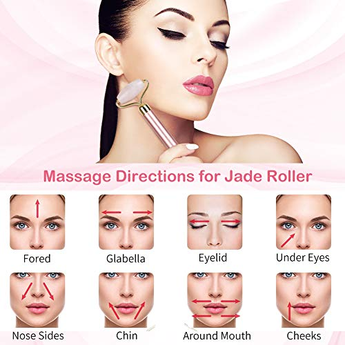 51yf6pIsDuL - Vibration Jade Roller Massage Tool - More efficient Anti-aging 100% Natural Facial Jade Stone Set - Face Eye Neck Beauty Roller For Slimming & Firming - Rejuvenate Skin & Remove Wrinkles