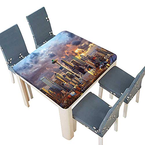 PINAFORE Tablecloth Waterproof Polyester Table Collection Seattle Skyline at Sunset WA USA Sun Lights Through Dramatic Clouds Scene Tablecloth Wedding/Party 65 x 65 INCH (Elastic Edge) (Best Crawfish In Seattle)