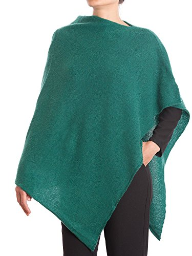 DALLE PIANE CASHMERE - Poncho 100% Cashmere - Made in Italy, Color: Green, One Size