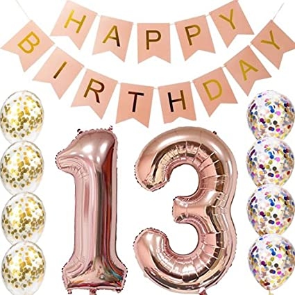 Sweet 13Th Birthday Decorations Party Supplies ROSE GOLD Number 13 Balloons Foil