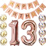 13th Birthday decorations Party supplies-13th Birthday Balloons Rose Gold,13th birthday banner,Table Confetti decorations,13th birthday gifts for girls,use them as Props for Photos