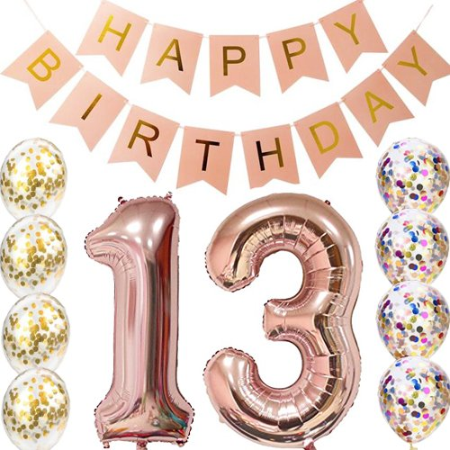 Birthday 13th Banners (13th Birthday decorations Party supplies-13th Birthday Balloons Rose Gold,13th birthday banner,Table Confetti decorations,13th birthday gifts for girls,use them as Props for Photos)