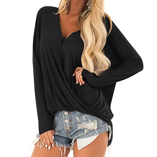 b240070b571 Image Unavailable. Image not available for. Color  Ghazzi Women Tops Teen Girls  Solid Color Deep V Long Sleeves ...