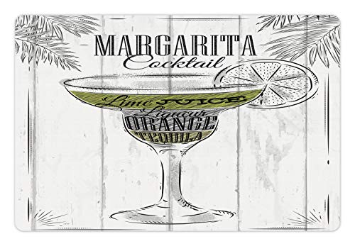 Ambesonne Cocktail Pet Mat for Food and Water, Ingredients of Margarita Sketch Lime Juice Liqueur Orange and Tequila, Rectangle Non-Slip Rubber Mat for Dogs and Cats, Grey White Apple Green