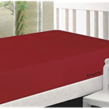 """JB Linen 500 Thread-Count Egyptian Cotton Extra Deep Pocket 1PC Fitted Sheet/Bottom Sheet Three Quarter (48"""" x 75"""") Burgundy Solid Fit Up To 9"""" inches Deep Pocket Fully Elastic All Around."""