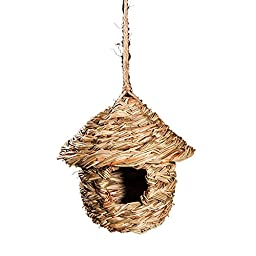 RunHigh Pocket Birdhouse-Small Hanging Grass Twine House with Roof