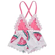 2018 Summer Toddler Baby Girl Clothes Cute Watermelon Print Lace Trim Backless Romper Shorts Jumpsuit (Pink, 6-12 Months)