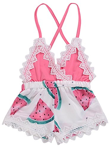(Summer Toddler Baby Girl Clothes Cute Watermelon Print Lace Trim Backless Romper Shorts Jumpsuit (Pink, 18-24 Months))