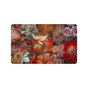 Amazon Com Beautiful Red Poppy Flower Art Custom Doormat