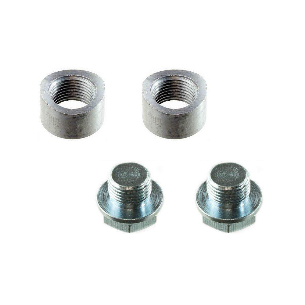 CarXX Universal Fit M18x1.5 O2 Oxygen Sensor Mild Steel Weld Bung (Standard - 2 Bungs, with Plug)