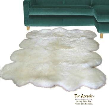 Area Rug White Shag FUR ACCENTS 5/' Shaggy Faux Fur Carpet Runner