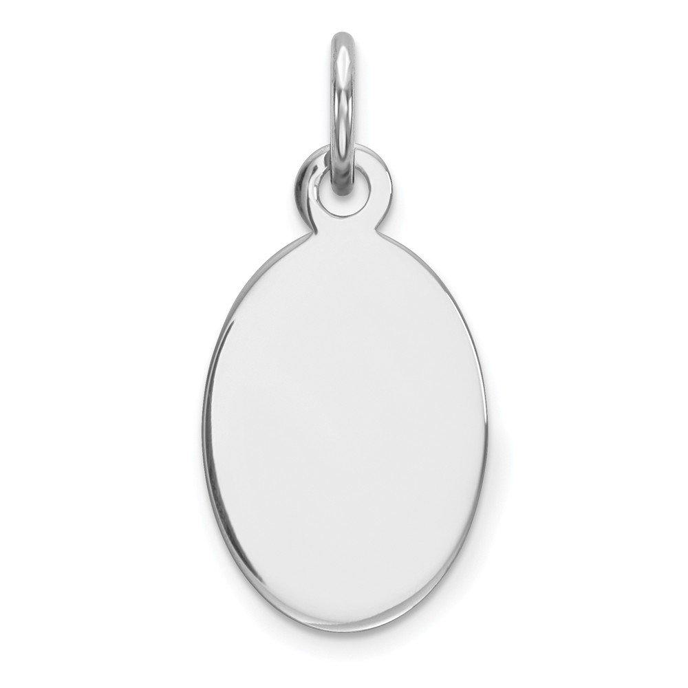 Sterling Silver Rh-plt Engraveable Oval Polished Front//Back Disc Charm