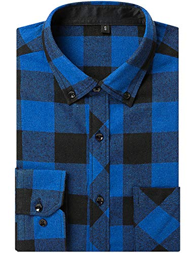 - DOKKIA Men's Dress Long Sleeve Buffalo Plaid Checked Button Down Flannel Shirts (US L-CN XL, Blue Black Buffalo)