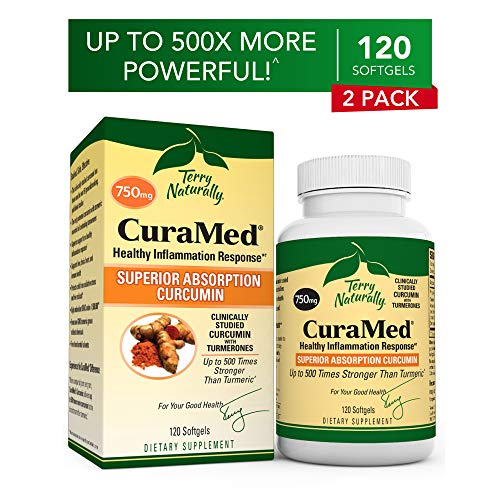 Terry Naturally CuraMed 750 mg (2 Pack) - 120 Softgels - Superior Absorption BCM-95 Curcumin Supplement, Promotes Healthy Inflammation Response - Non-GMO, Gluten-Free, Halal - 240 Total Servings (Terry Naturally Curamed 750 Mg 120 Softgels)