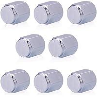 Niome 8 Pcs/Pack Tire Valve Caps Silver Premium Metal Rubber Seal Tire Valve Stem Caps Dust Proof Covers