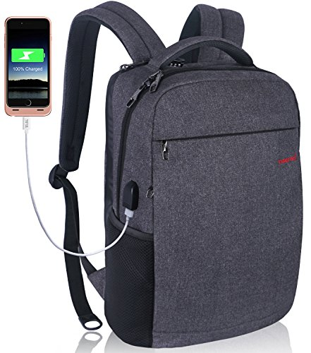 LAPACKER 12-15.6 Inch Lightweight Business rechargeable backpack for Men&Women, Slim Anti thief College Computer Laptop Backpacks Travel Daypack with USB Charging Port Fits UNDER 15.6