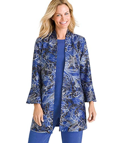 (Chico's Women's Travelers Collection Reversible Solid to Floral Crushed Jacket Size 4/6 S (0) Blue)