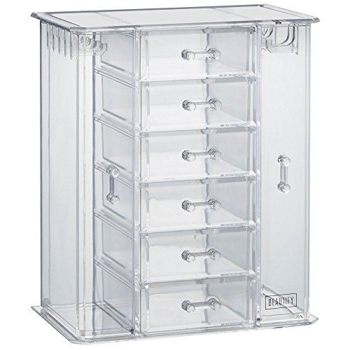 Beautify Acrylic Jewelry Organizer Chest / Makeup Storage Box with 6 Drawers & Necklace Holder - Clear