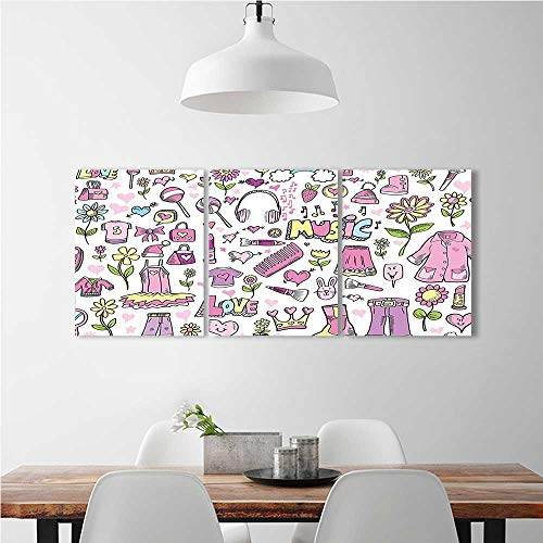 aolankaili 3 Pieces Modern Wall Art Decor Frameless Teen Princess Doodle Style Clothes Cellphone Makeup Pink Green Blue for Home Print Decor for Living Room W24 x H36 x 3pcs -