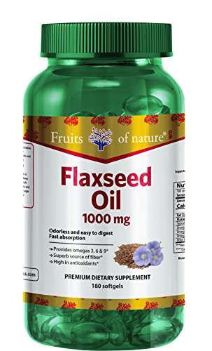 Flaxseed Oil Capsules 1000 mg - Organic, Extra Virgin, and Cold Pressed Quick Release softgels, Omega 3+6+9 - Premium Dietary Supplement - by Fruits of Nature. by Fruits of Nature (Image #4)