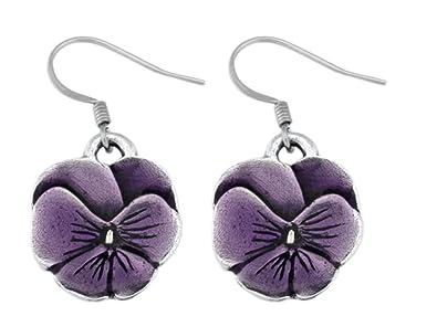 Danforth   Pansy / Purple Wire Earrings