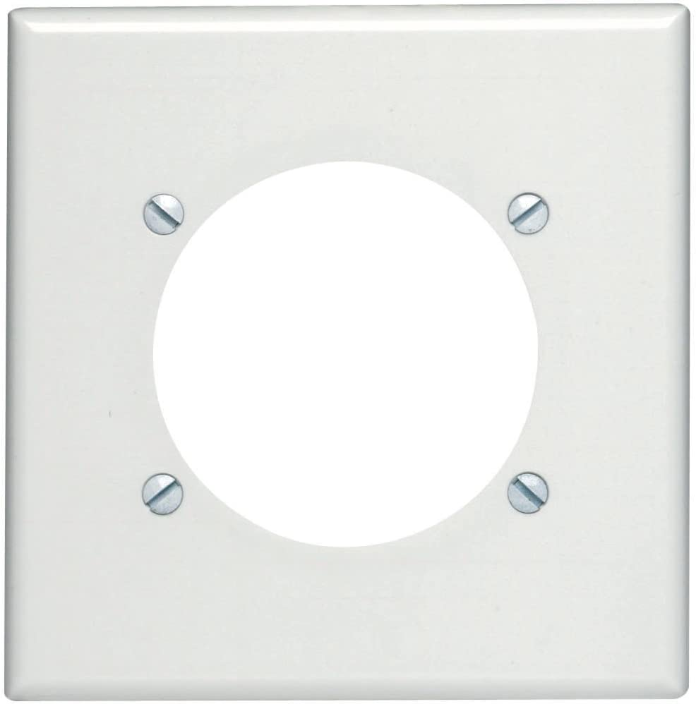 Leviton 80530-W 2-Gang Flush Mount 2.465-Inch Diameter, Device Receptacle Wallplate, Device Mount, Midway Size, White